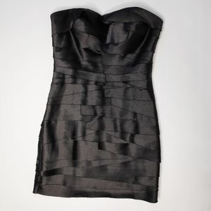 BEBE Black Strapless Tiered Dress Size XS